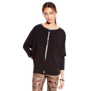 Two by Vince Camuto Faux Leather Trim Jersey Tee